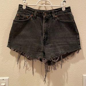 vintage Levi Black Denim Shorts